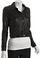 black crinkled leather short jacket