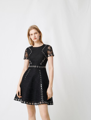 Maje Skater dress with eyelets and studs
