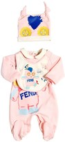 Fendi Printed Cotton Jersey Romper, Hat & Bib