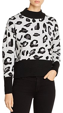 Design History Mock Neck Leopard Sweater