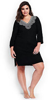 Classic Women's Plus Size Embroidered Woven Tunic Cover-up-White/White