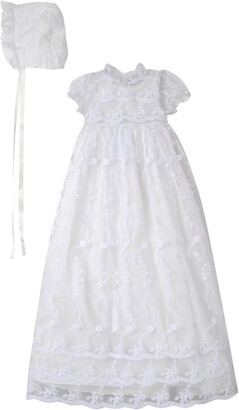 Laura Ashley Embroidered Gown with Bonnet