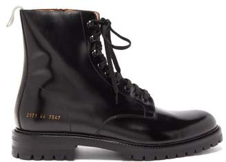 Common Projects Leather Combat Boots - Mens - Black