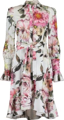 Marchesa Floral Cotton Hi Low Shirt Dress