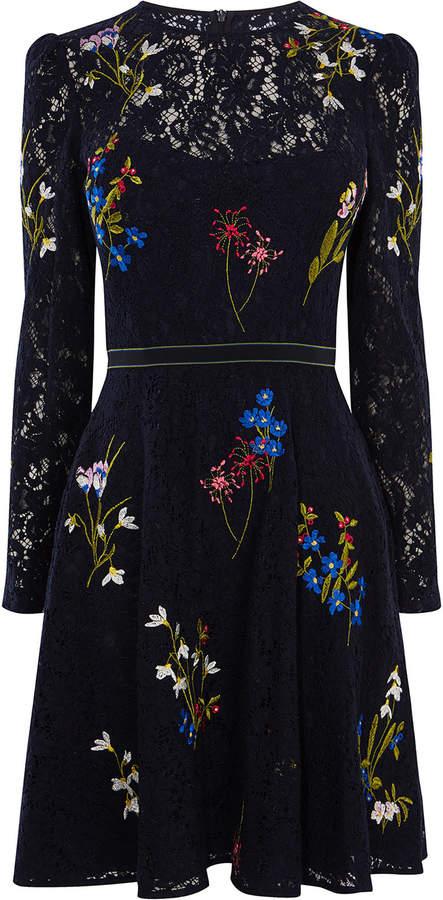 Karen Millen Embroidered Lace Dress