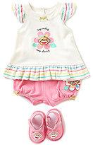 Baby Starters Baby Girls 3-12 Months Sock Monkey 3-Piece Set