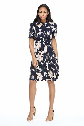 Maggy London Women's Short Sleeve Neck Bow Floral Print Fit and Flare Crepe Dress