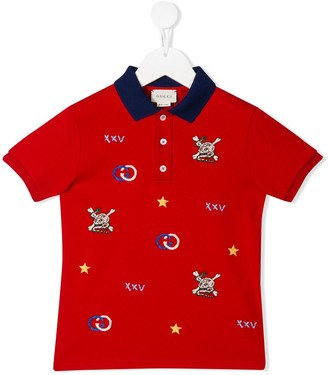 Gucci Kids Embroidered Skull Polo Shirt