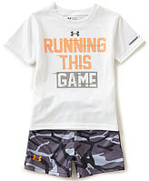 Under Armour Baby Boys 12-24 Months I Run This Game Graphic Tee & Camouflage-Printed Shorts Set