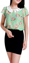 Allegra K Women Peter Pan Collar Floral Print Chiffon Shirt M Pink