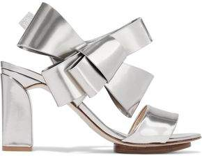 DELPOZO Bow-Embellished Mirrored-Leather Sandals