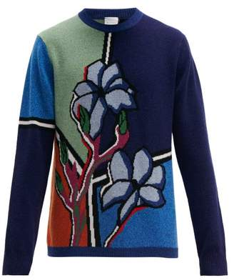 Paul Smith Floral Intarsia Lambswool Sweater - Mens - Blue Multi