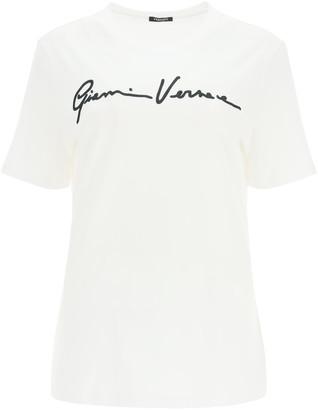 Versace GV SIGNATURE T-SHIRT 38 White, Black Cotton
