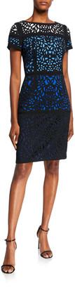 Shani Ombre Laser Cut Short-Sleeve Sheath Dress