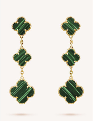 Van Cleef & Arpels Women's Yellow Gold Magic Alhambra And Malachite Earrings