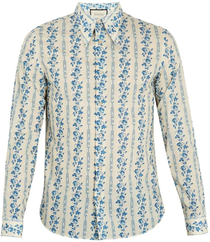 Gucci Floral and logo-print cotton-poplin shirt