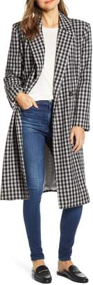 BeachLunchLounge Double Breasted Gingham Long Coat