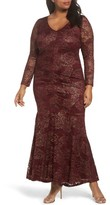 Marina Plus Size Women's Foil Lace Ruched Mermaid Gown