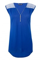 Select Fashion Fashion Womens Blue Airtex Shoulder Zip Front Tee - size 10