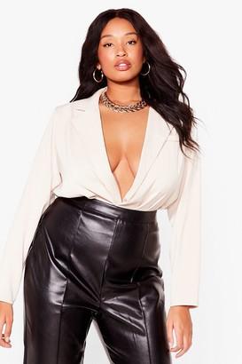Nasty Gal Womens Sunday Best Plus Shirt Bodysuit - White - 22, White