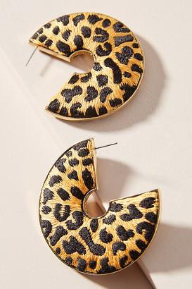 Mignonne Gavigan Leopard Hoop Earrings By in Yellow Size ALL