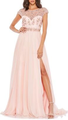 Mac Duggal Embellished Chiffon A-Line Gown