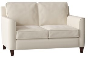 Bradington Young Yorba Leather Loveseat Bradington-Young Body Fabric: Milestone White, Leg Color: Mahogany, Cushion Fill: Premier Down