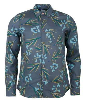 Paul Smith Floral Print Long Sleeved Shirt Colour: GREY, Size: MEDIUM