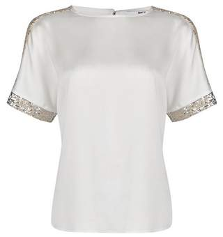 Dorothy Perkins Womens Petite White Shimmer Batwing Top, White