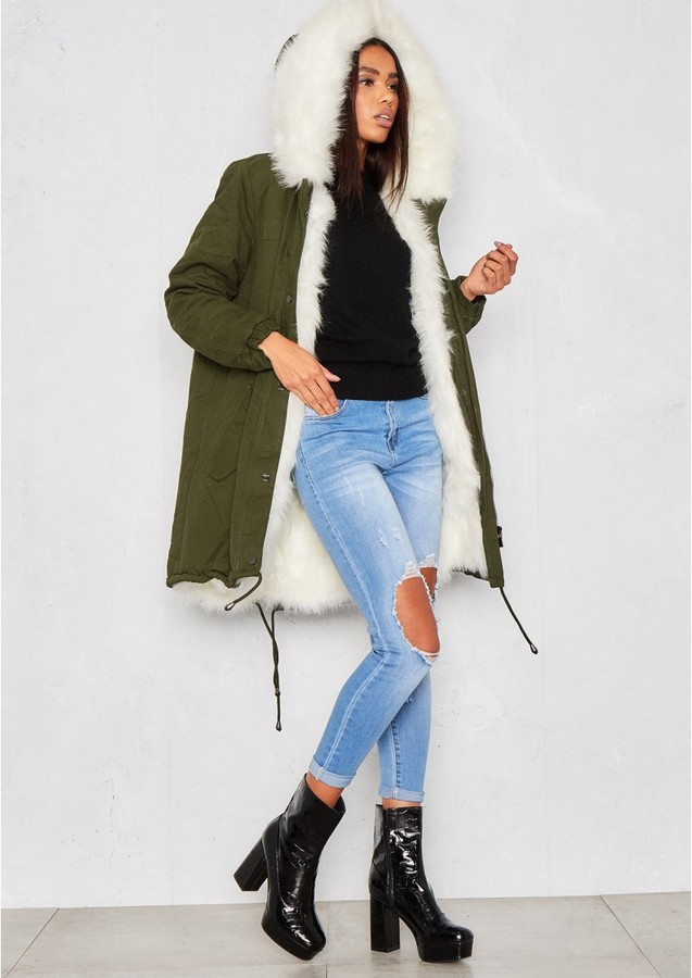 Missy Empire Demi Green Faux Fur Lined Parka Coat
