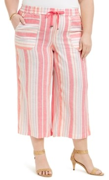Style&Co. Style & Co Plus Size Multi-Stripe Linen Pants, Created for Macy's