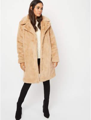 George Beige Longline Faux Fur Lined Jacket