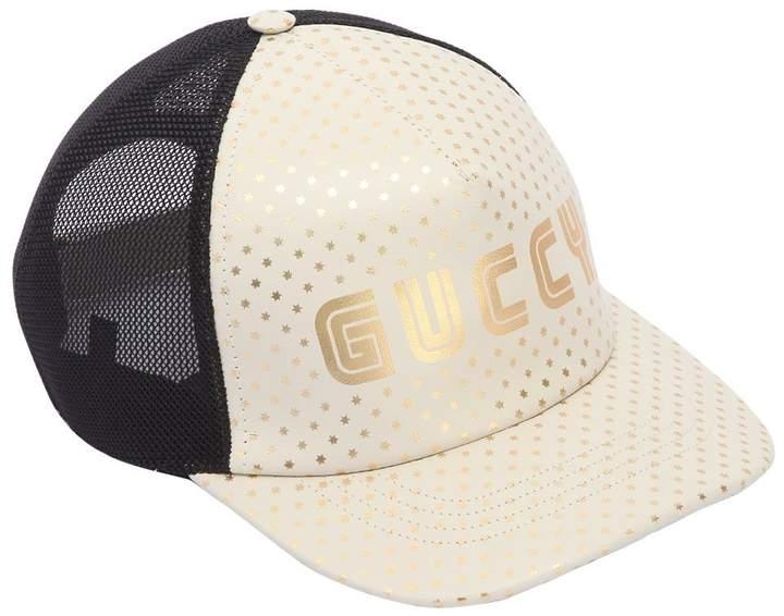Gucci Logo Print Leather & Mesh Hat
