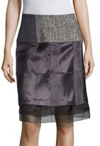 Carolina Herrera Lamb Fur Paneled Skirt