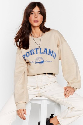 Nasty Gal Womens There's a Party in Portland Graphic Sweatshirt - Beige - S