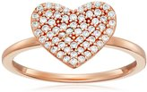 "Crislu Simply Pave"" Heart 18K Rose Gold Plated Sterling Silver Ring"