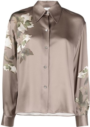 Vince Satin-Finished Floral-Print Shirt