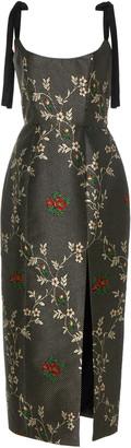 Monroe Markarian Floral-Jacquard Midi Dress
