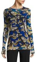 Fuzzi Mariposa-Print Long Sleeve Top