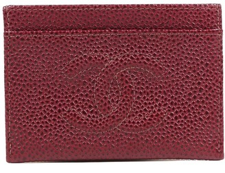 Chanel Red Caviar Leather Timeless Cc Card Holder Wallet
