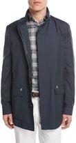 Brioni Micro-Check Wool Field Jacket, Blue