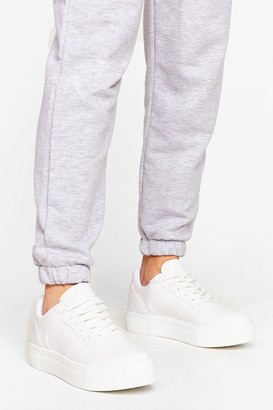 Nasty Gal Womens Faux leather flatform Trainers - White - 5, White