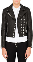 Alexander Wang Cropped Sleeve Moto Jacket W/ Double Snap Front