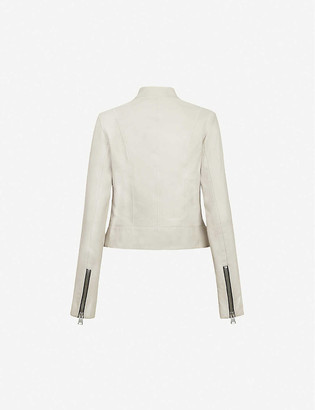 AllSaints Jae collarless leather jacket