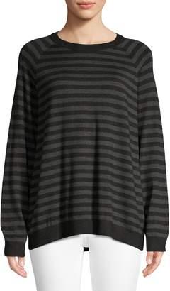 Eileen Fisher Striped Raglan-Sleeve Sweatshirt