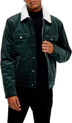 Topman Borg Faux Fleece Lined Corduroy Trucker Jacket