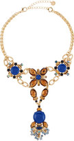Lydell NYC Golden Statement Crystal Y-Drop Choker Necklace
