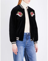 Mo&Co. Ladies Black Stylish Embroidered Velvet Bomber Jacket