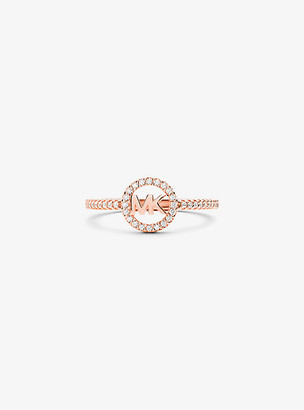 Michael Kors Precious Metal Plated Sterling-Silver Logo Ring - Rose Gold