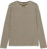 Vince Striped Silk-blend Jersey Top - Army green